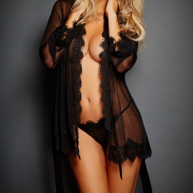 1 Set  Open Front Sheer Fabric flower Lace Trim Robe Sleepwear With Thongs G-string  Nightwear - FKF Fashion