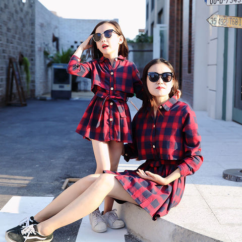 Spring Mommy & Daughter Matching Plaid Dress