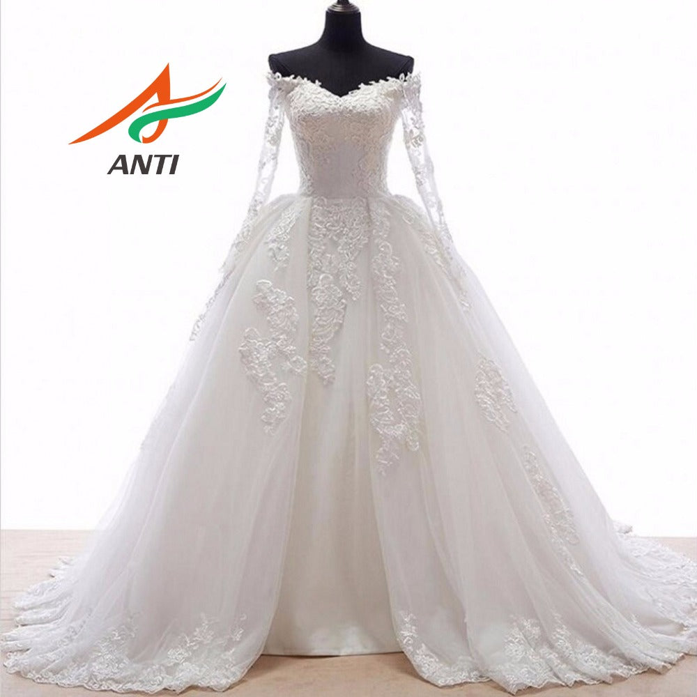 Ball Gown Wedding Dress With Long Sleeves Appliques Detachable skirts Train Gowns