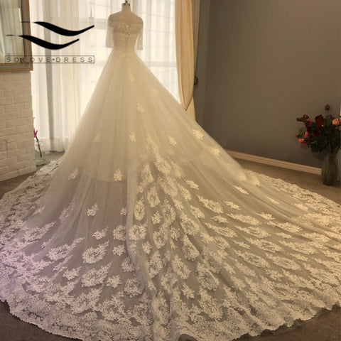Lace Boat Neck Half Sleeves Lace up back Wedding dresses
