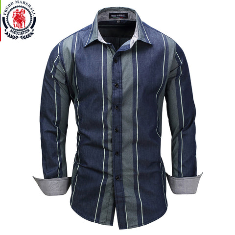 New Striped Patchwork Long Sleeve Casual Dress Shirt Male