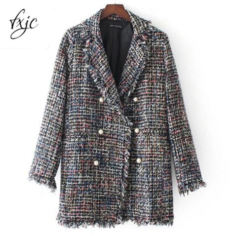 Pearl Button Hairy Colorful Knitted Turn Down Collar Coat