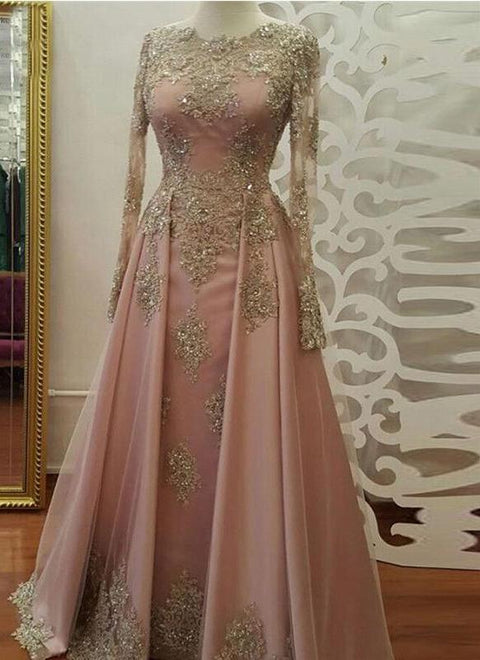 Long Sleeve Evening Dress Long Prom Dresses with Gold Lace Beadings Floor Length Satin Formal Party Gown