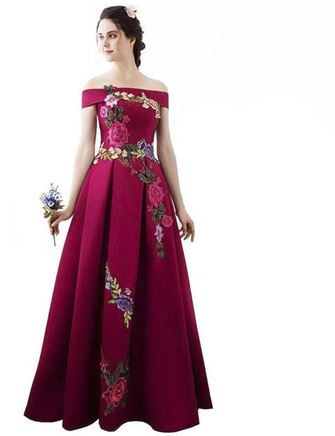 High Quality Prom Dresses Fashion Summer Satin With Big Flowers A-line