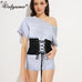 Black and white Faux Suede Lace Up Corset Belts Bandage Womens Waist Belt - FKF Fashion