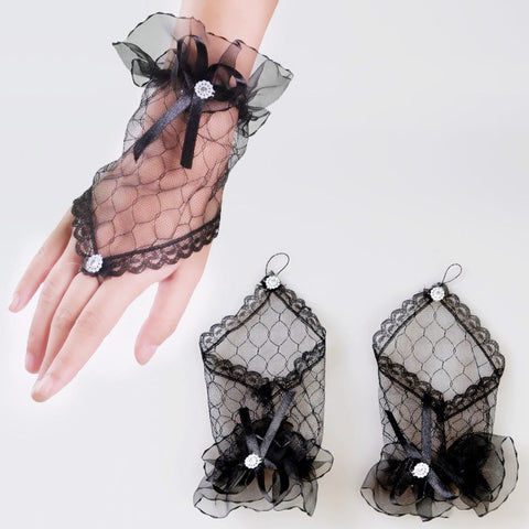 Newest Lace Fingerless Gloves Burlesque Clubwear Party (Black)