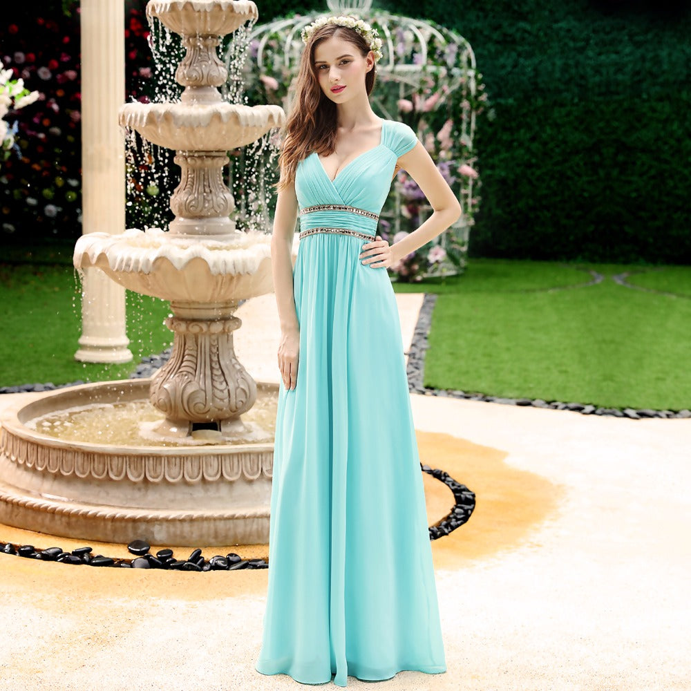 Evening dresses Women\'s Beautiful Elegant V neck Long Prom Dresses ...
