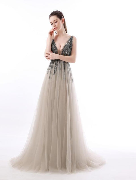 Deep V Neck Backless Beads Crystal Party Gowns Sleeveless prom dress