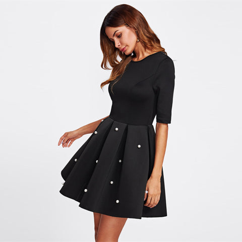 Cute Box Pleated Flare Black Dress