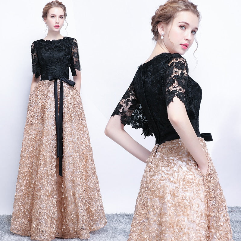 Exclusive Black & Gold Party Gown