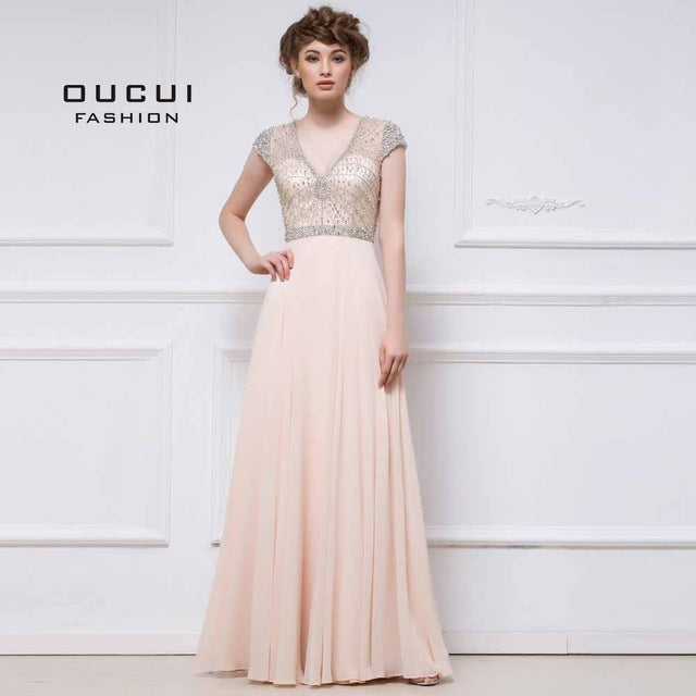 A Line Hand Work Chiffon Formal Shinning Beading Hand Work Prom Dress