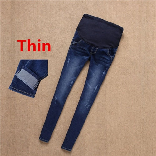 Maternity Winter Warm Jeans Pants For Pregnant Women