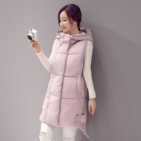 New women vest Winter jacket Hooded Thicken Warm Long Casual Cotton Padded Sleeveless waistcoat - FKF Fashion