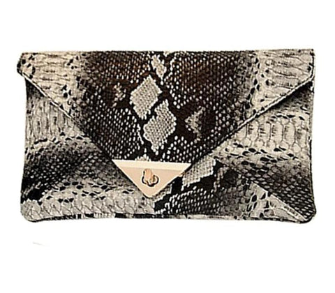Synthetic Leather Snake Skin Envelope Clutch - FKF Fashion
