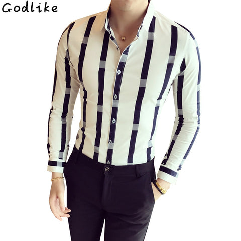 Wide Stripe Long Sleeve British style Slim Fit Male Casual Night Club Work Shirt