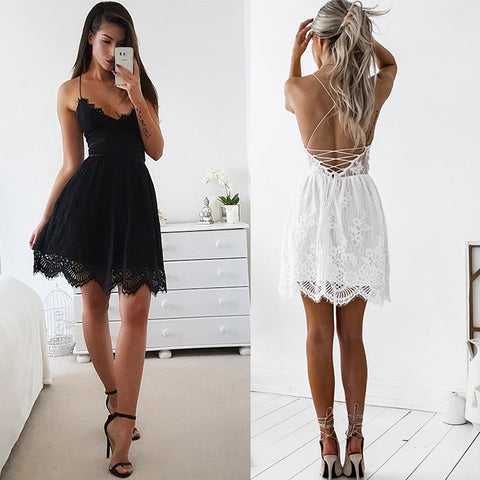 Summer Sexy Backless White Lace Dress Spaghetti Strap Sleeveless Black Dresses Casual Loose V-Neck Fishtail Mini Dress Party - FKF Fashion