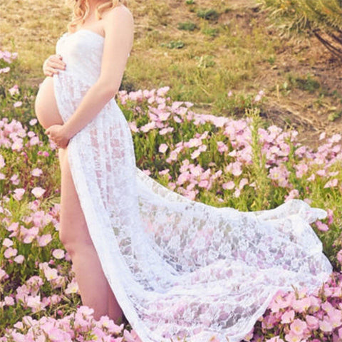 New Style Lace Stretchy Pregnancy Long Maternity Dress for Photo Shoot Maxi Strapless Dresses Vestido - FKF Fashion