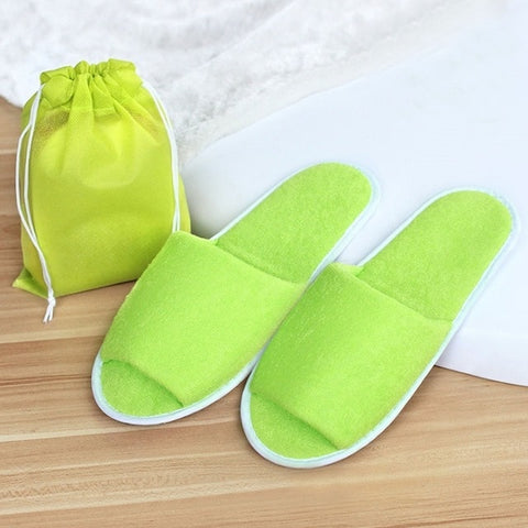 New Simple Slippers Men Women Hotel Travel Spa Portable Folding Home Guest Indoor Slippers Big Size Shoes - FKF Fashion