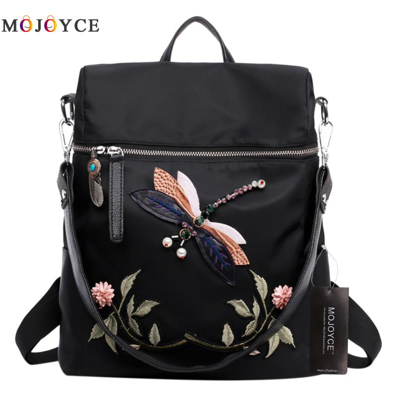 2 ways Wearing Backpack Women Teenage Girl Dragonfly Embroidery Nylon School Shoulder Bag Female Backpack Mochila Feminina - FKF Fashion