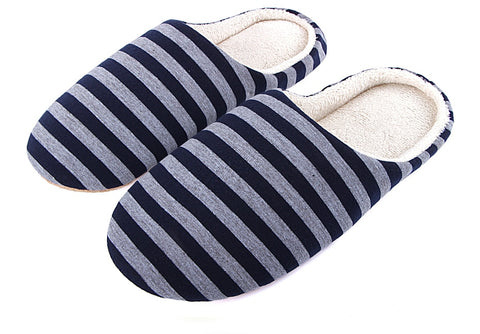 Men Casual Sneakers For Home Slippers Winter Striped Soft Floor Man Indoor Flats Shoes Warm Plush Cotton Slipper Terlik