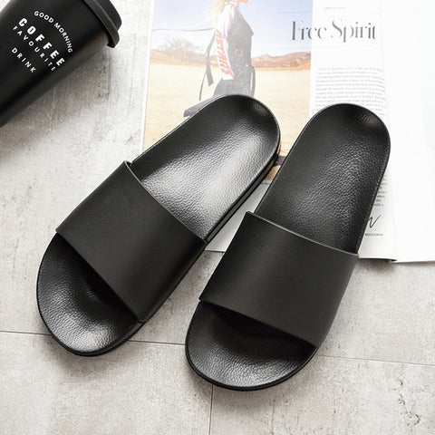 Men Slippers Casual Black And White Shoes Non-slip Slides Bathroom Summer Sandals Soft Sole Flip Flops Man - FKF Fashion
