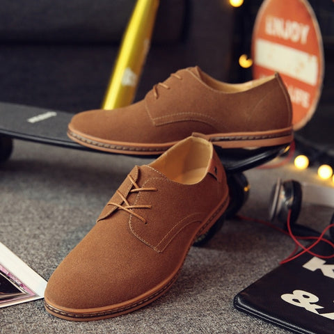 England Trend Casual Shoes Male Suede Oxford Leather Dress Shoes Zapatillas Men Flats Plus Big Size Snakers Man