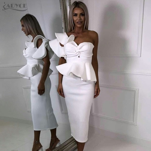 9ecd3e3130f Celebrity Style Evening Party Dress Women Sexy Bodycon Sets One Shoulder  Ruffles Short Sleeve Strapless Club