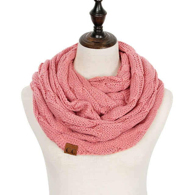 Cashmere Knitted Cable Ring Scarf - FKF Fashion