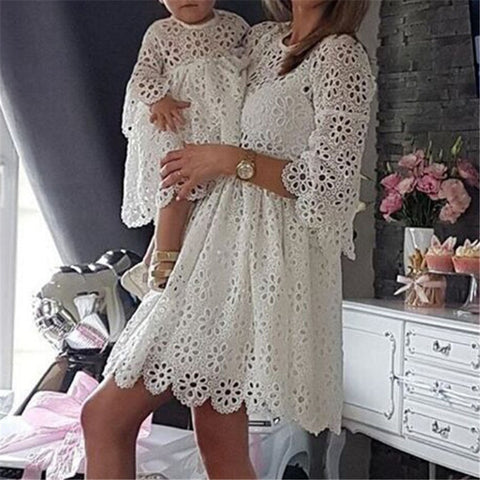 Fashionable Lace Mini Dress for Mom Baby Girl Party Clothes