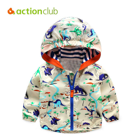 Boys Jackets Children Hooded Dinosaur Printed Outerwear 2-6T - FKF Fashion