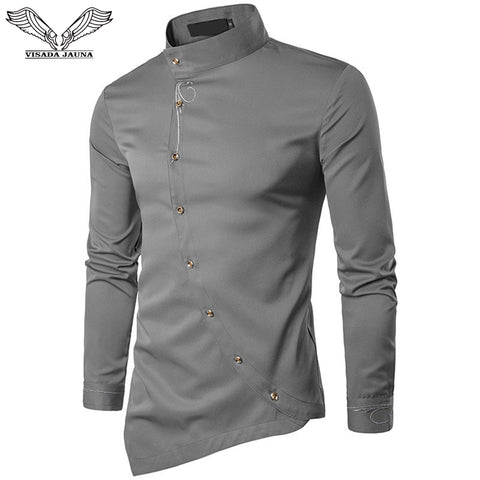 New Men's Fashion Cotton Long Sleeved Shirt Solid Color Slim Fit Shirts Men Casual Shirt