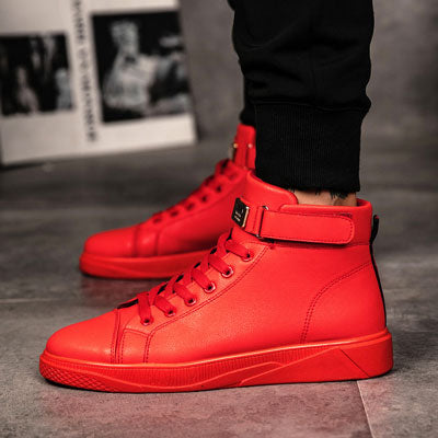 Men's Vulcanized Shoes Black High Top Lace-up Autumn Winter Casual Canvas Shoes For Men Boys Sneakers Without Lace - FKF Fashion