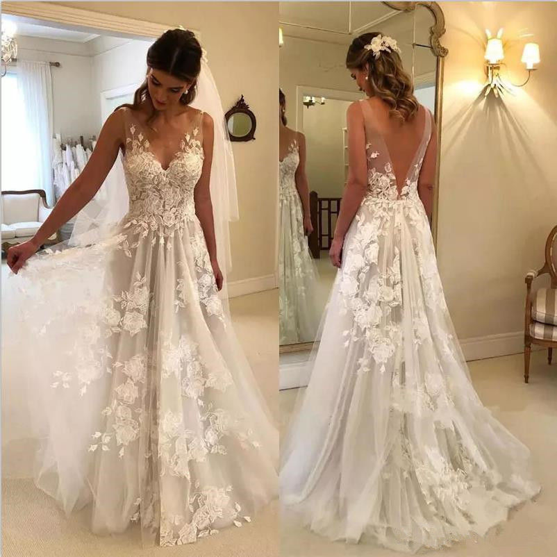 Beach Vestido De Noiva 2018 Wedding Dresses A-line V-neck Tulle Lace Backless Dubai Arabic Boho Wedding Gown Bridal Dresses - FKF Fashion
