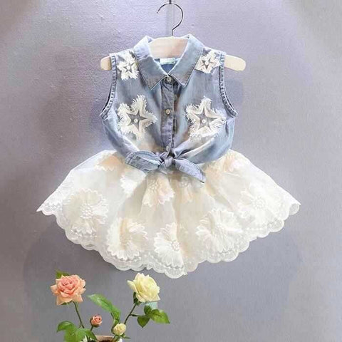 Girls denim vest+ white chiffon skirt