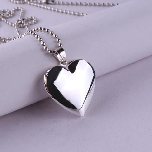 Valentine Love Photo Frames Can Open Locket Necklaces Heart Pendant Necklace Jewelry For Women Girlfriend