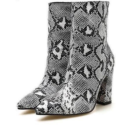 Snake Print Ankle Pointed Toe Heel Boots - FKF Fashion