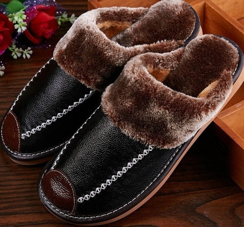 Winter Men's Slippers Genuine Leather Home Indoor Non-Slip Thermal Shoes Men New Warm Winter Slippers Plus Size