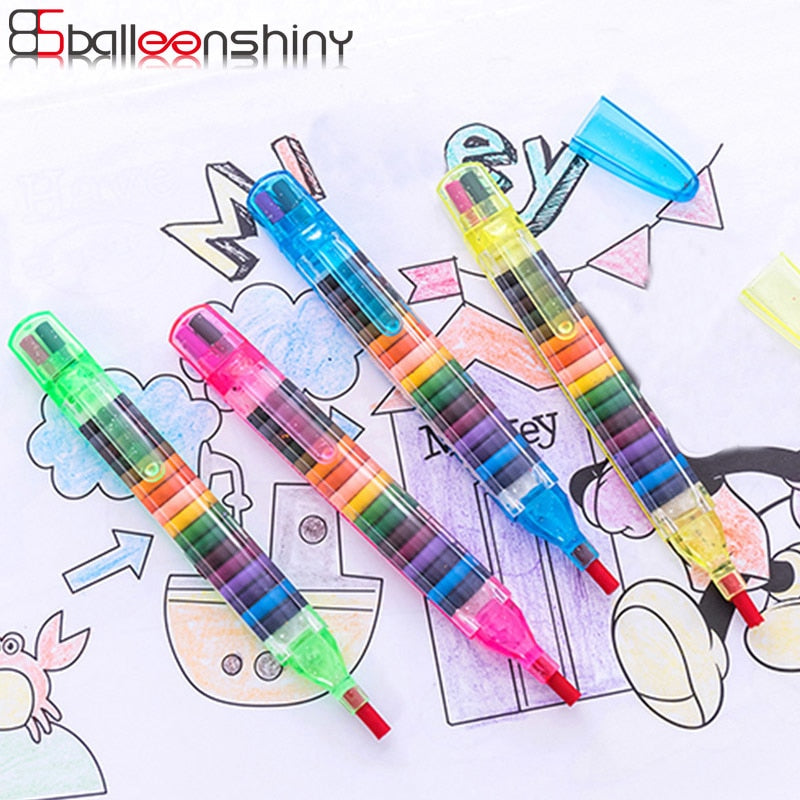 BalleenShiny Children Painting Toys 20 Colors Wax Crayon Baby Funny Creative Educational Oil Pastels Kids Graffiti Pen Art Gift - FKF Fashion