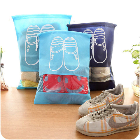 Travel Storage Shoes Bag Portable Drawstring Dustproof Cover Pouch