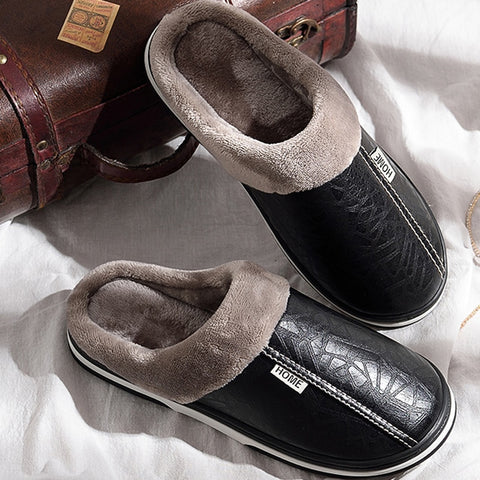 Men Winter slippers Non slip Indoor for slipper leather House shoes Waterproof male Sewing Warm Memory Foam