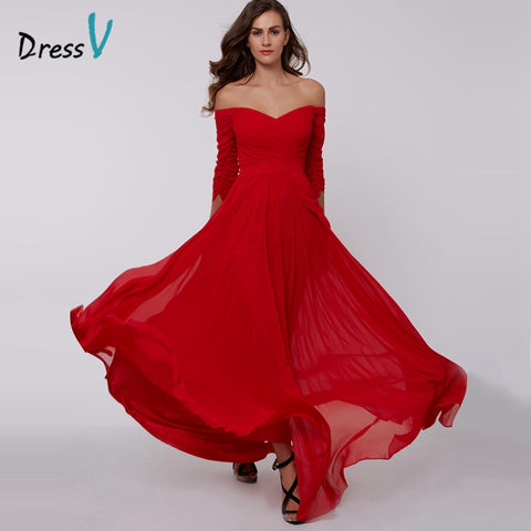 Off the shoulder zipper up 3/4 length sleeves pleats ruched chiffon evening dress