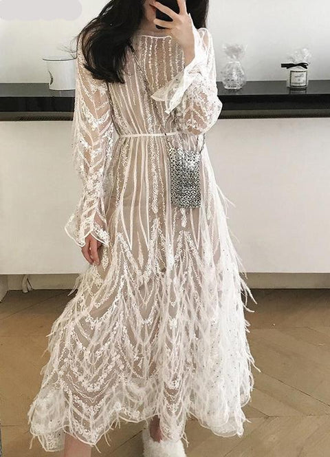 White Tassels Feathers Runway Mesh Dress