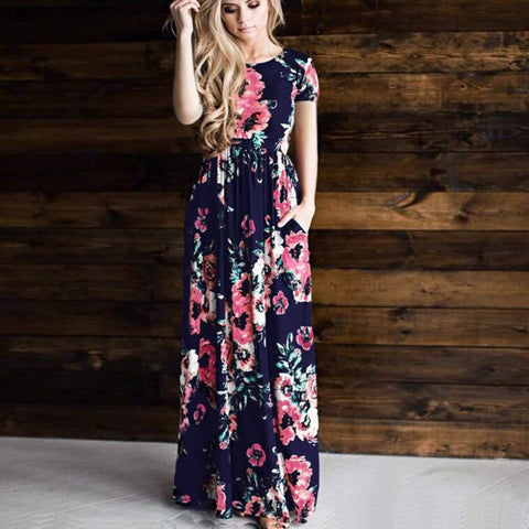 Print Women Summer Dress Vintage Autumn party long dress Boho Floor-Length Plus Size Casual maxi dress - FKF Fashion