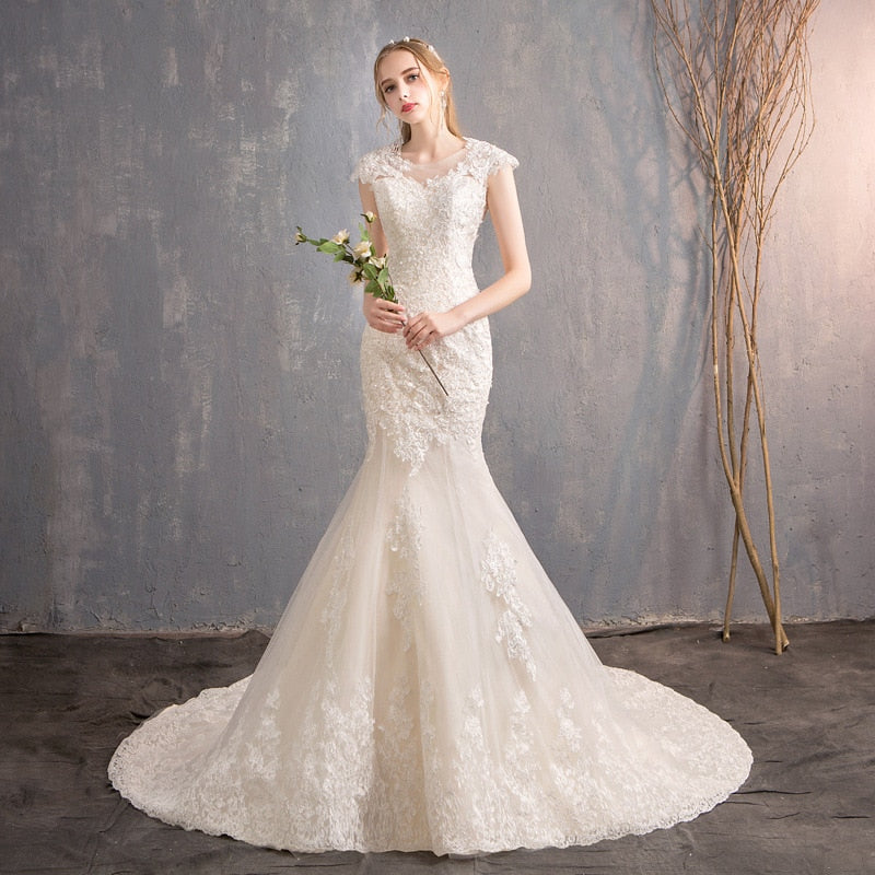 98c2a8951f Cap Sleeves Lace Appliques Robe De Mariee Country Garden Chapel Train Wedding  Gown - FKF Fashion. Images   1   2 ...