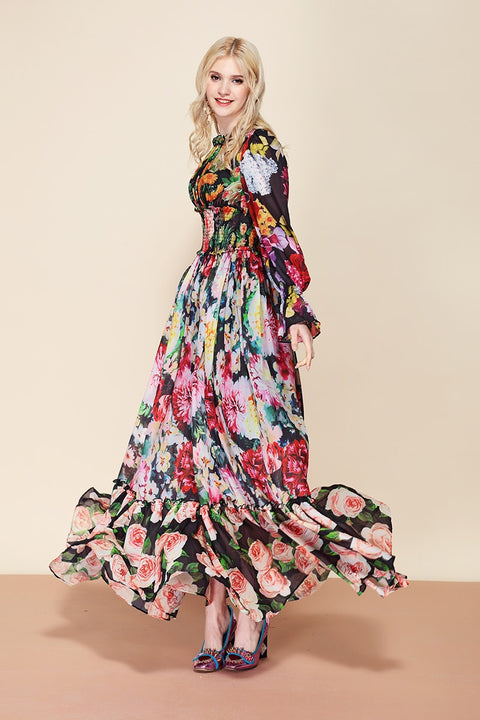 Summer Designer Floral Long Dress - FKF Fashion