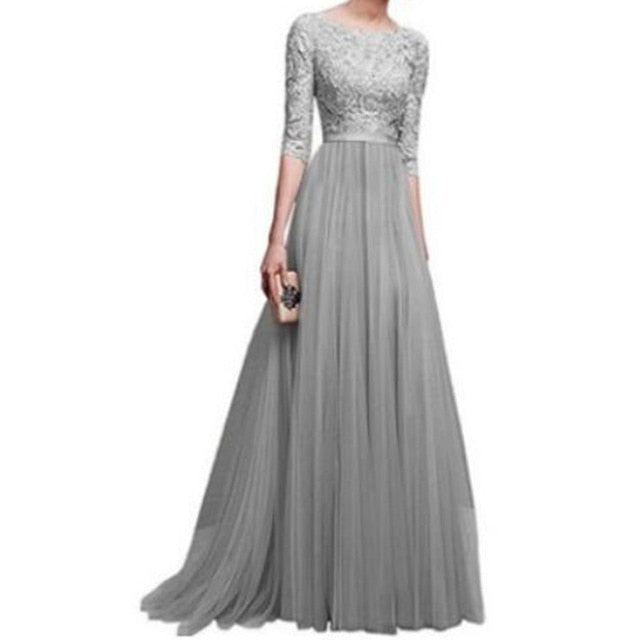 Elegant Chiffon Lace Floor-length Party Prom Evening Long Dress