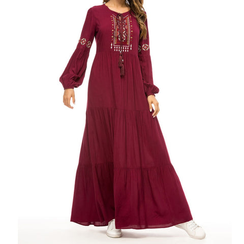 Wine Embroidered Boho Party Maxi Dress