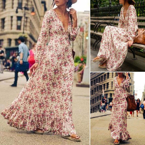 Boho Floral Beach Sundress - FKF Fashion