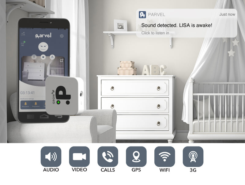 Parvel GROW baby monitor with WiFi, 3G, GPS and Phone