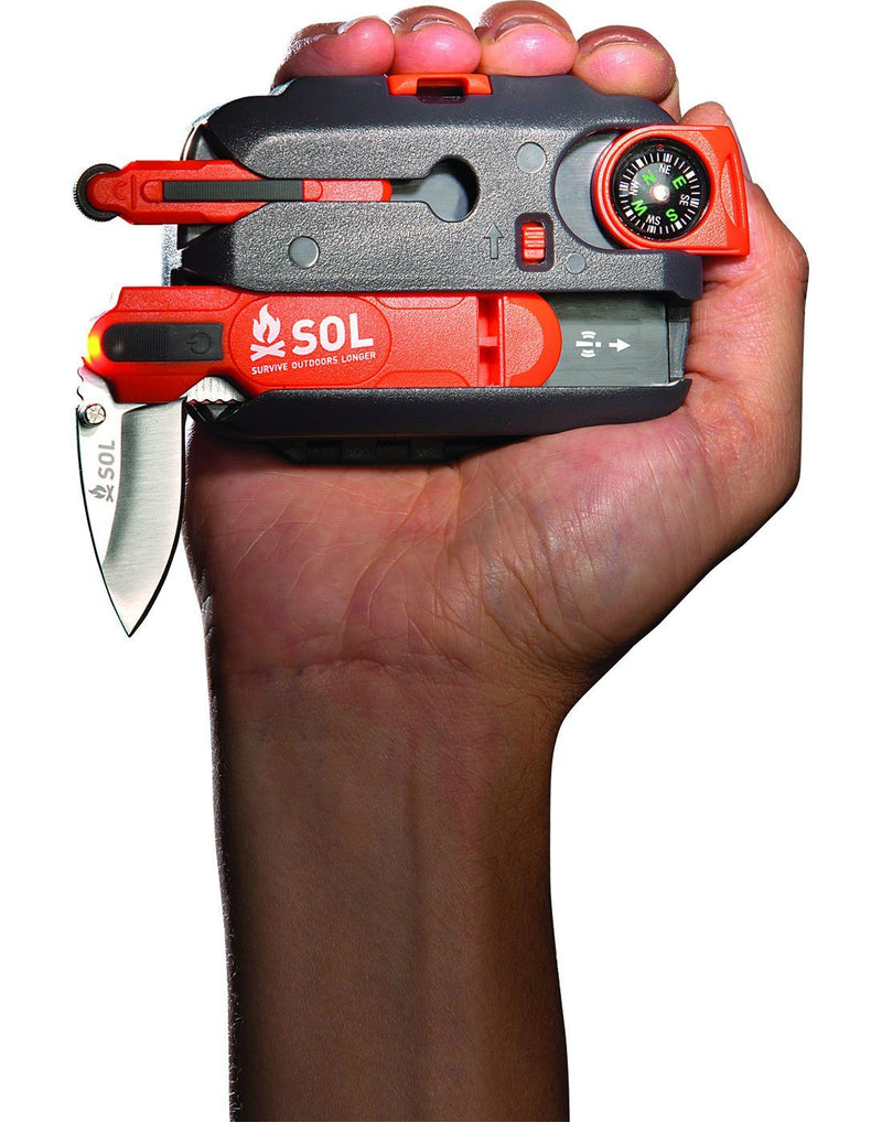SOL origin survival toolkit in hand close up view